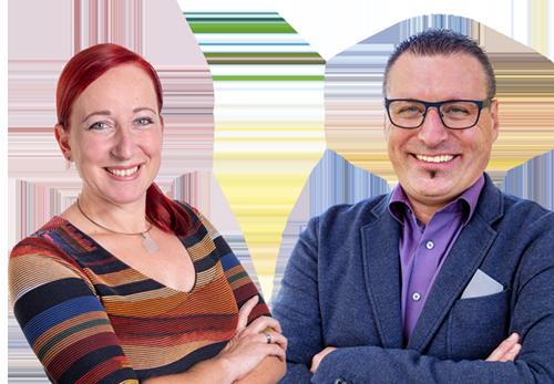 Portraits von Mag. Ewald Prochiner und Claudia Leeb MSc